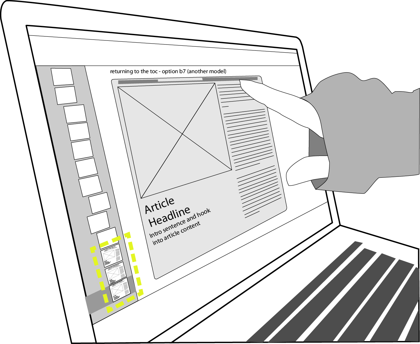 designer points at onscreen wireframe